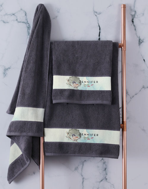 mothers-day: Personalised Watercolour Charcoal Towel Set!