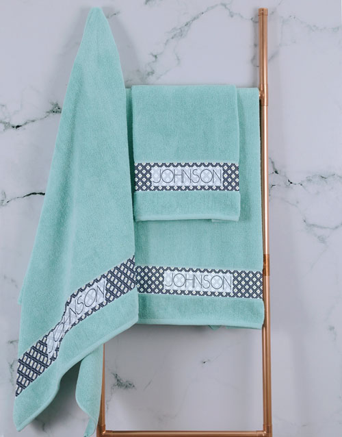 mothers-day: Personalised Ethnic Glam Duck Egg Towel Set!