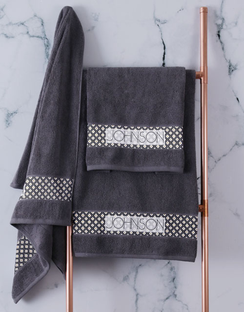 bath-and-body: Personalised Ethnic Glam Charcoal Towel Set!