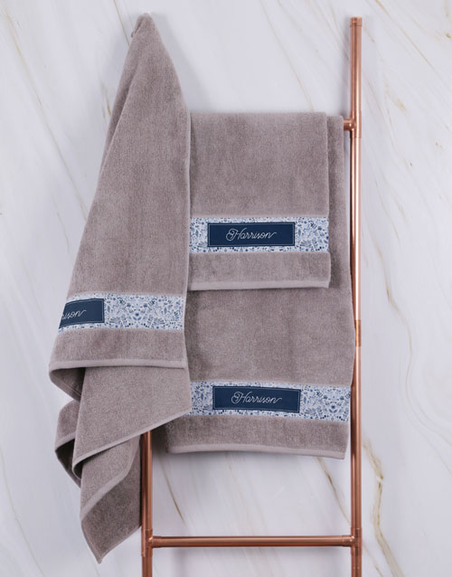 gifts: Personalised Blue Print Stone Towel Set!