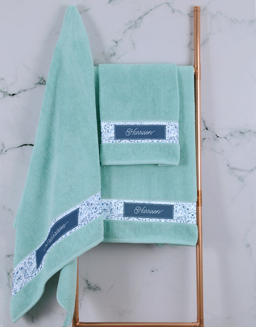mothers-day: Personalised Blue Print Duck Egg Towel Set!