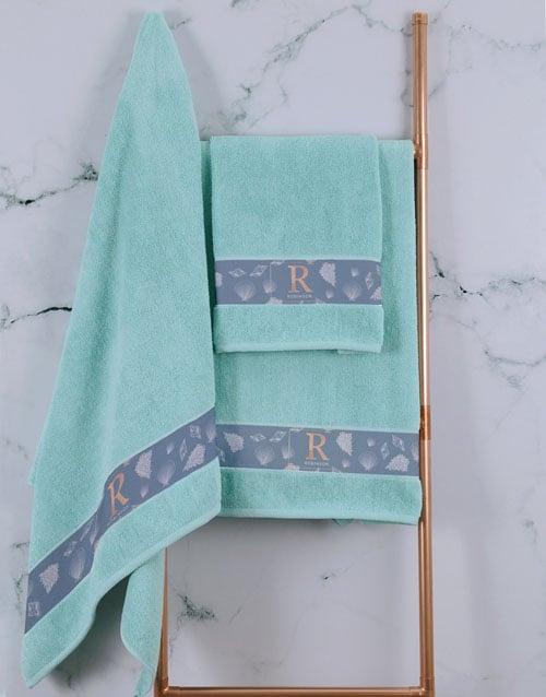 bath-and-body: Personalised Glam Coastal Duck Egg Towel Set!