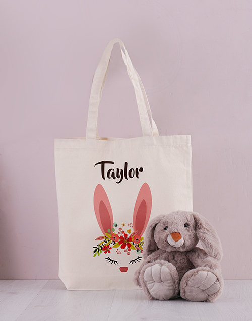 easter: Personalised Floral Bunny Tote Bag!