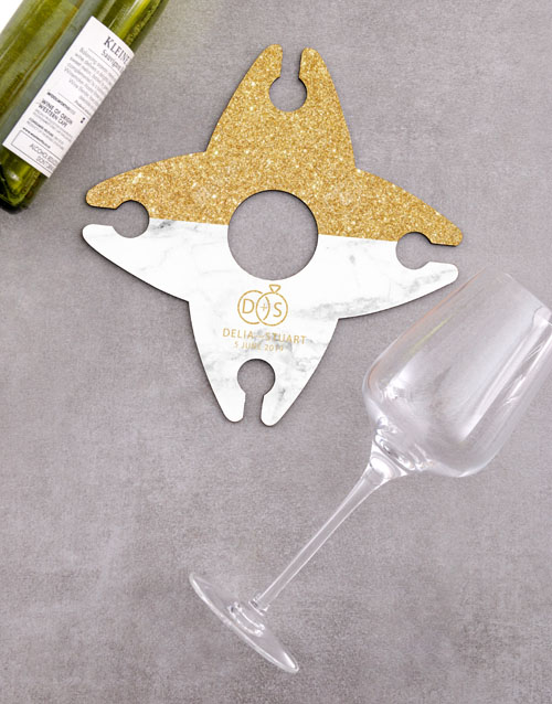 congratulations: Personalised Elegant Wine Glass And Bottle Holder!