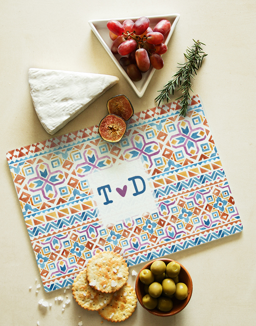 homeware: Personalised Colour Patterns Glass Chopping Board!