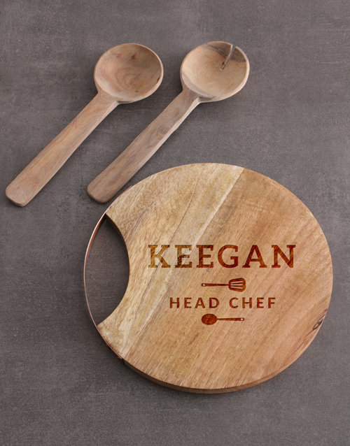 christmas: Personalised Head Chef Round Chopping Board!