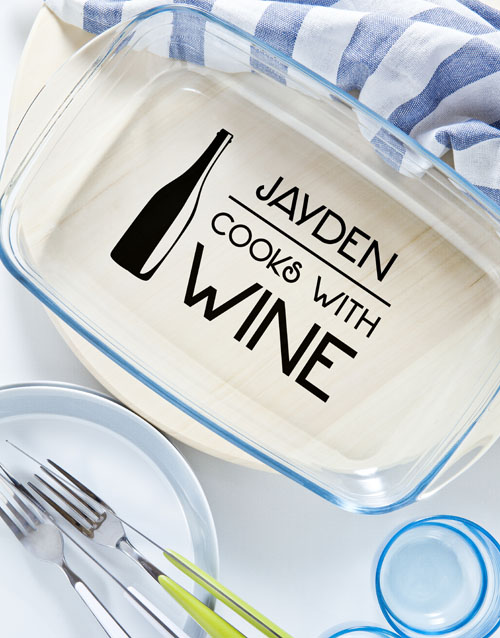 christmas: Personalised Cook With Wine Cooking Dish!