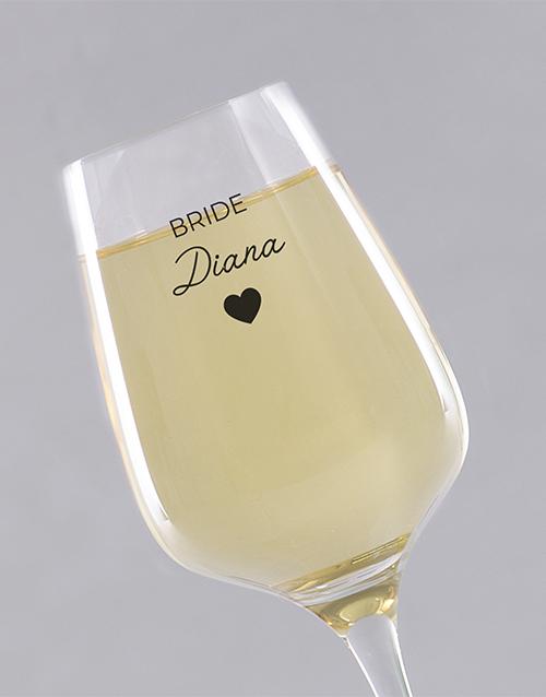 homeware: Personalised Bride Single Wine Glass!