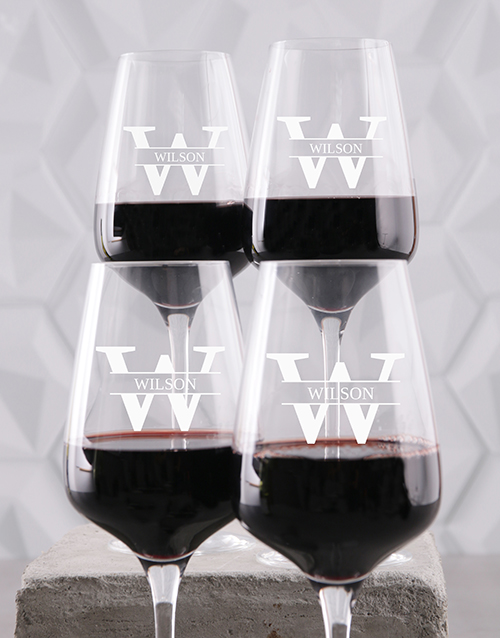 homeware: Personalised Surname Wine Glass Set!