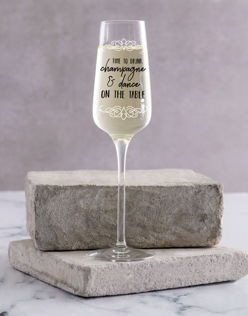 birthday: Personalised On The Table Single Champagne Glass !