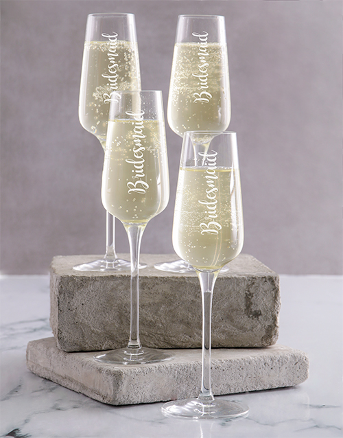 personalised: Personalised Bridesmaids Champagne Glass Set!
