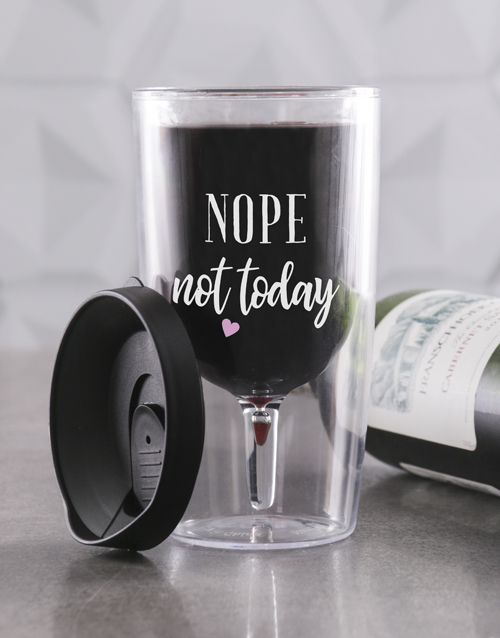 birthday: Personalised Not Today Travel Wine Glass!