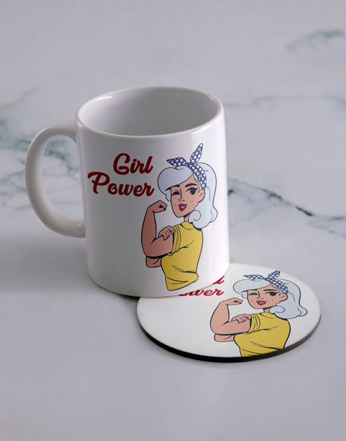 homeware: Personalised Girl Power Mug And Coaster Set!