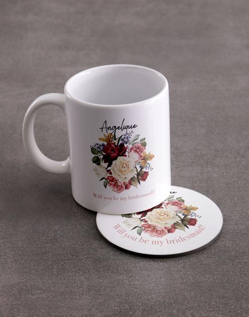 homeware: Personalised Bridesmaid Mug And Coaster Set!