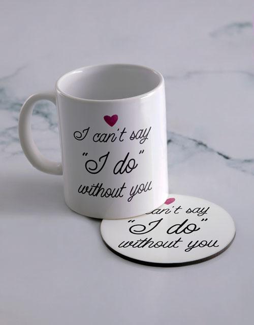homeware: Personalised Say I Do Mug And Coaster Set!