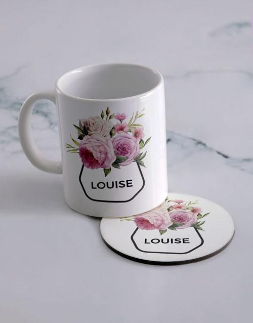 homeware: Personalised Pink Flower Mug And Coaster Set!
