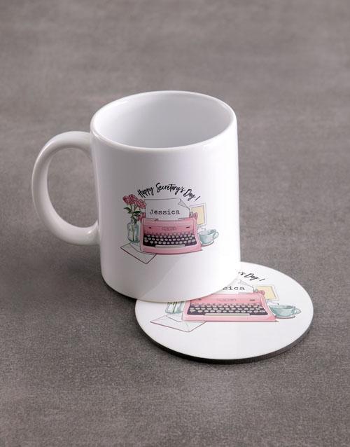 homeware: Personalised Secretaries Day Mug And Coaster Set!