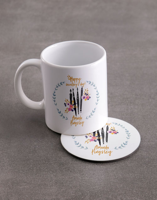 secretarys-day: Personalised Secretaries Mug And Coaster Set!