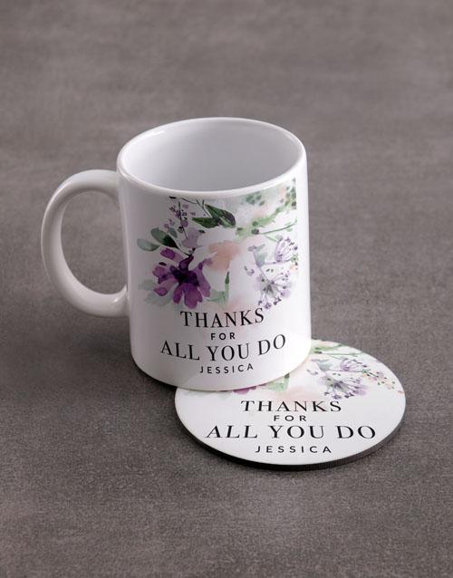 secretarys-day: Personalised Thank You Mug And Coaster Set!