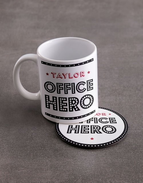 year-end: Personalised Office Hero Mug And Coaster Set!