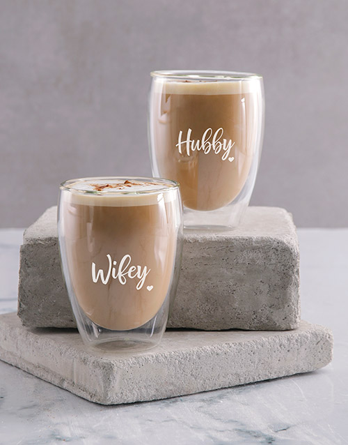 homeware: Personalised Hubby And Wifey Double Wall Mug Set!