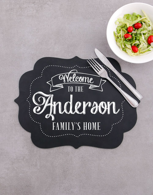 christmas: Personalised Our Home Chalk Board Placemat!