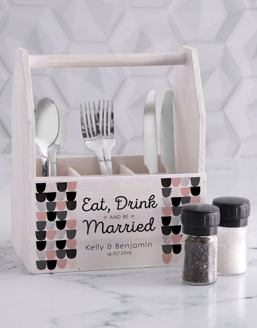 homeware: Personalised Eat Drink Utensil Holder!