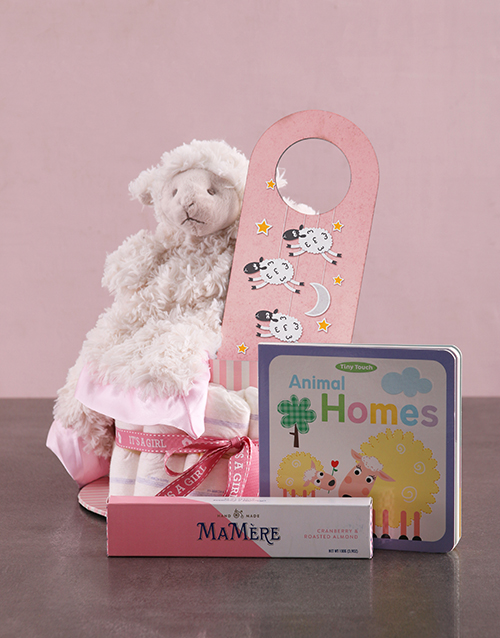 baby: Personalised Lamb Baby and Mommy Nappy Cake Pink!