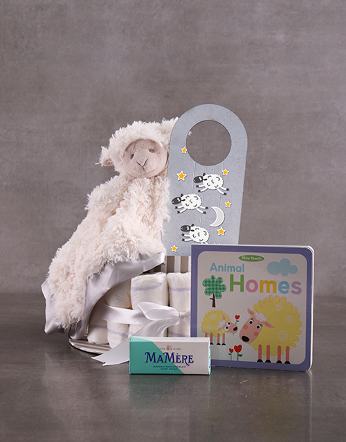 baby: Personalised Lamb Baby and Mommy Nappy Cake Grey!
