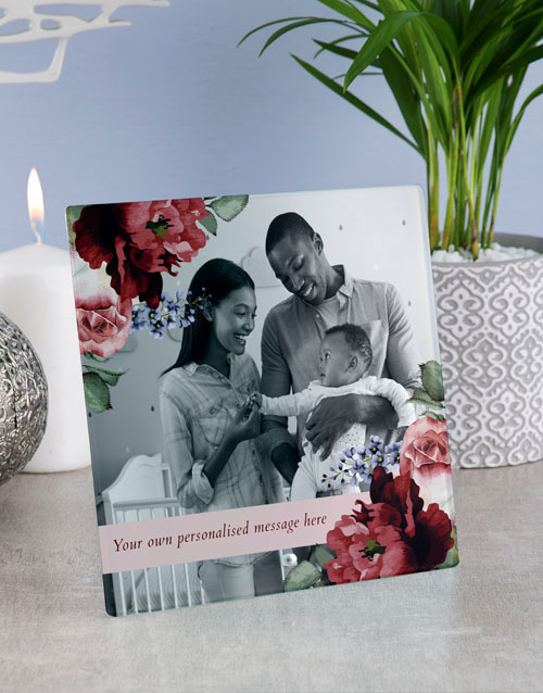 home-decor: Personalised Floral Glass Tile !