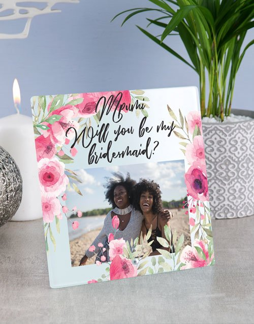 home-decor: Personalised Floral Bridesmaid Glass Tile !
