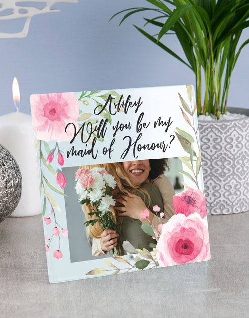 gifts: Personalised Floral Maid of Honour Glass Tile !