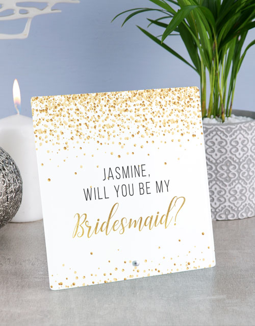 home-decor: Personalised Bridesmaid Glass Tile !