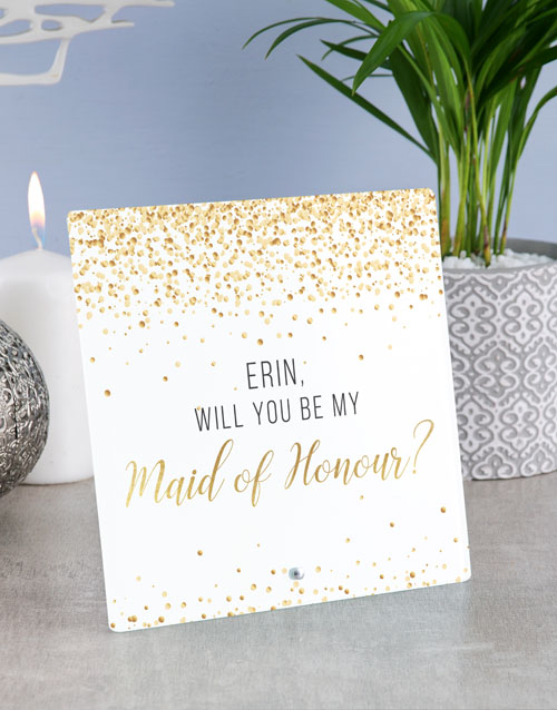 home-decor: Personalised Maid of Honour Glass Tile !
