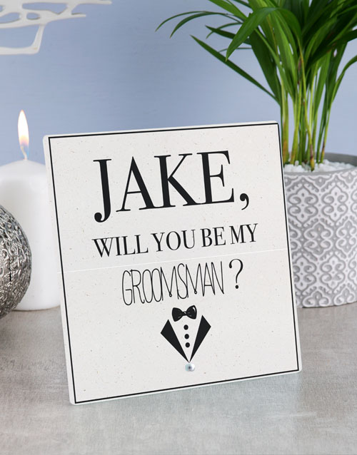 home-decor: Personalised Best Man Glass Tile !