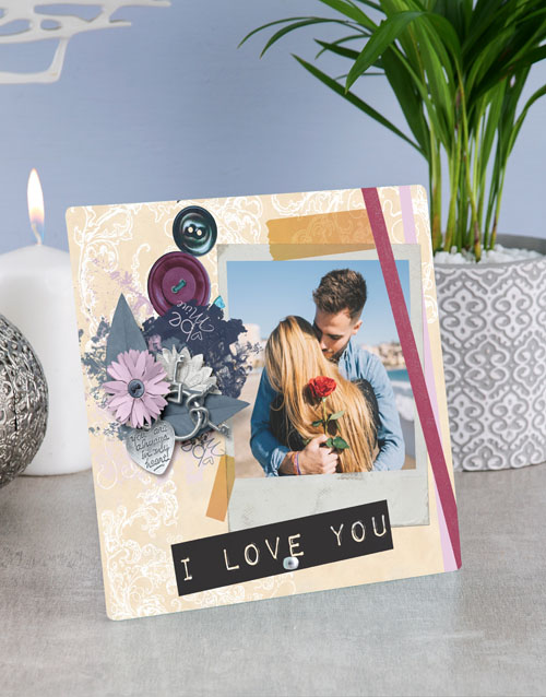 anniversary: Personalised I Love You Glass Tile !
