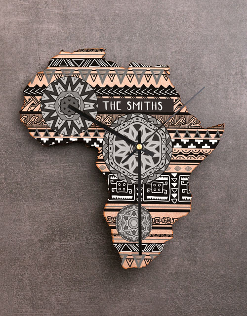 gifts: Personalised Black and White Africa Clock!