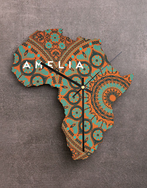 personalised: Personalised Name Africa Wooden MDF Clock!