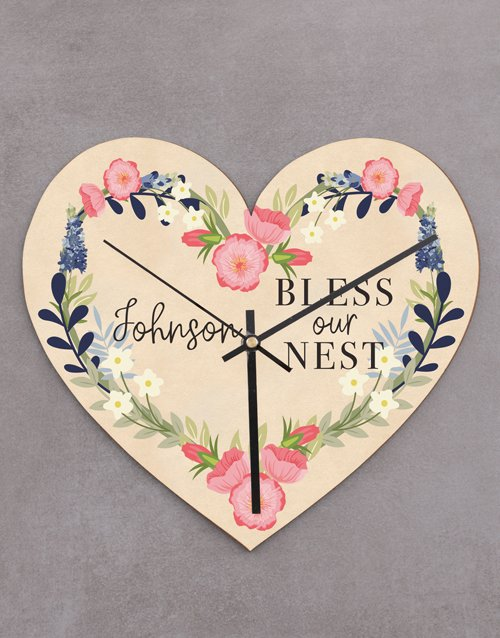 personalised: Personalised Bless Our Nest Heart Clock!