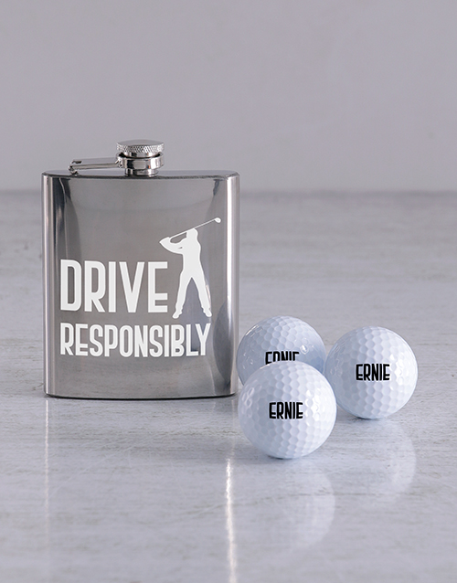 activewear: Personalised Golf Balls and Drive Hipflask!