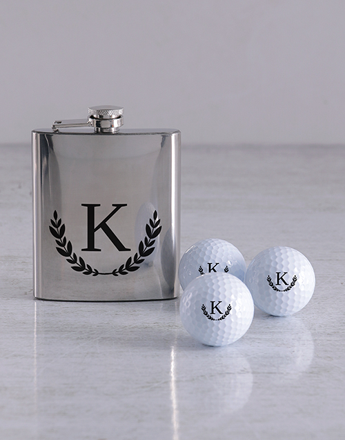 activewear: Personalised Wreath Golf Balls and Hipflask!