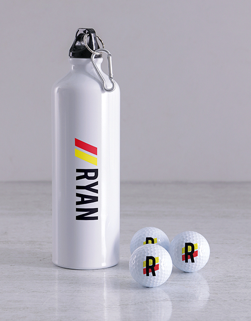 activewear: Personalised Stripe Golf Balls and Waterbottle!