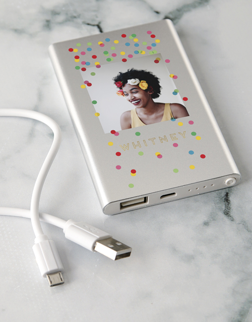 personalised: Personalised Confetti Power Bank!
