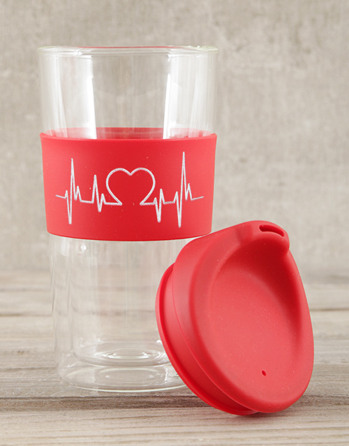 valentines-day: Personalised Red Heartbeat Travel Mug!