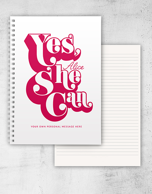 bosses-day: Personalised Yes She Can Ring Bound Notebook!