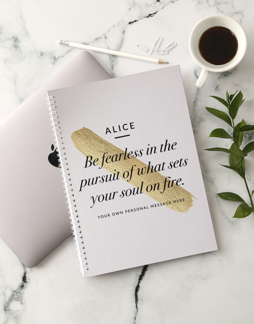 stationery: Personalised Be Fearless Ring Bound Notebook!
