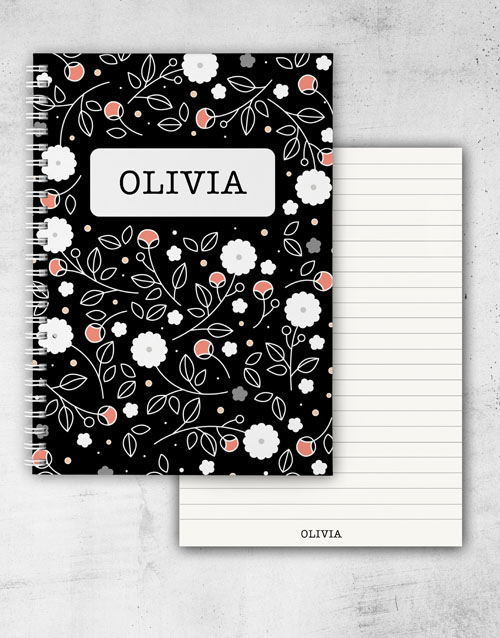 christmas: Personalised Colourful Floral Ring Bound Notebook!