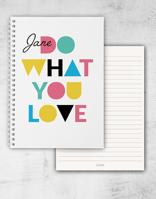 personalised: Personalised Do What You Love Ring Bound Notebook!