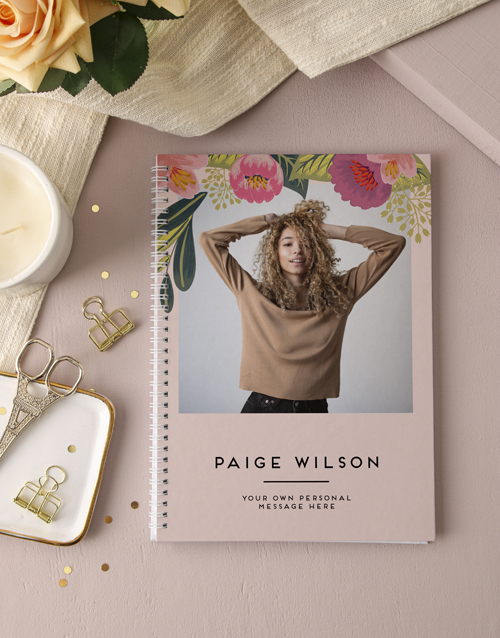 grandparents-day: Personalised Floral Photo Ring Bound Notebook!