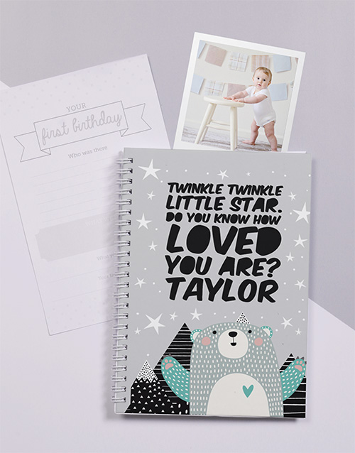 baby: Personalised Twinkle Bear Babys First Year Journal!
